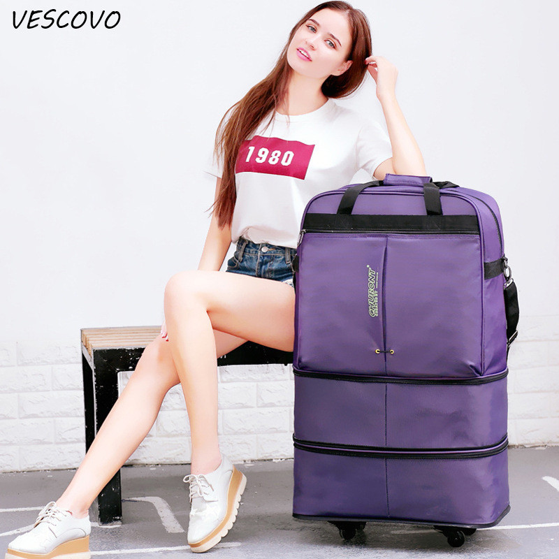 Vescovo  32inch Oxford Superlarge Capacity Travel Bags Checked Box Foldable Baggage Suitcase On Wheel