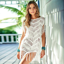 Knitting White Beach Dress Women Summer Tassel Hollow Out Sexy Mini Dresses Femme  Casual Loose Vacation Short Woman