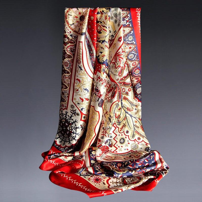 100% Hangzhou Silk Square Scarf Women 110*110cm 2020 Brand Big Bandana Wraps For Mama Printed Kerchief Real Silk Scarves Square
