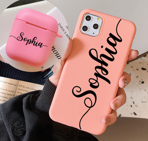 Image 1 - Personalized Name Phone Case for iPhone 11 12 Pro Max Xs XR  X se 6 7 8 Plus 2020 Case match with airpods 2 &1 case  Keychain