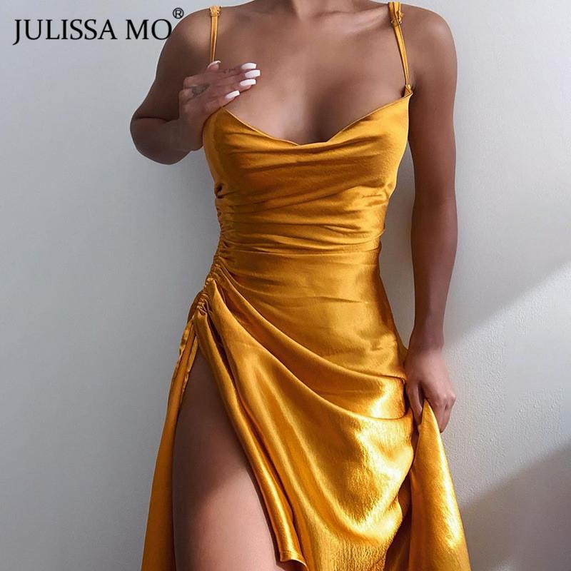 Julissa Mo Satin Side Split Ruched Women's Dress Sleeveless Square Collar Party Dresses Solid Elegant Clubwear Evening Vestidos