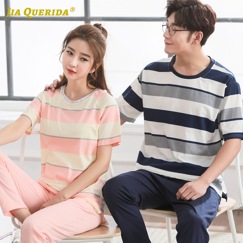 New Fashion Style Casual Style Stripe Couple Pajamas Set Homesuit Homeclothes Fashion Style Casual Style Sleepwear Crew Neck