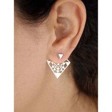 Moda simples prata cor oco metal geométrico triângulo brincos de parafuso prisioneiro frente para trás combinado orelha studs para mulher