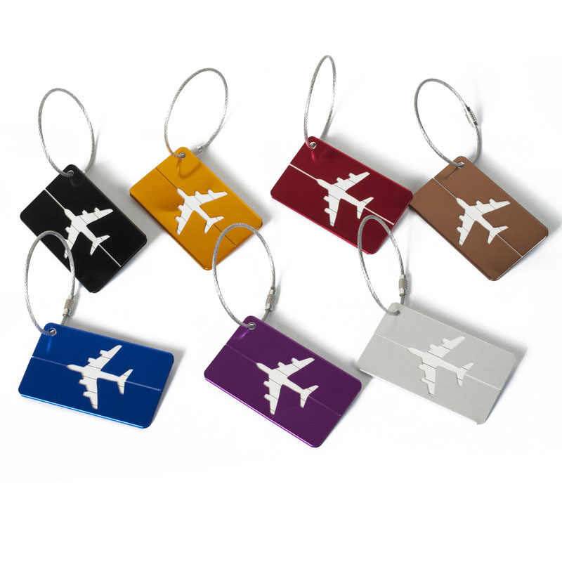 eTya Aluminium Alloy Luggage Tags Baggage Name Tags Suitcase Address Label Holder Metallic Suitcase Tag Travel Accessories
