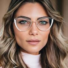 QPeClou 2020 New Fashion Metal Cat Eye Glasses Frame Women Vintage Hollow Anti-blue Transparent Eyeglasses Female Spectacles