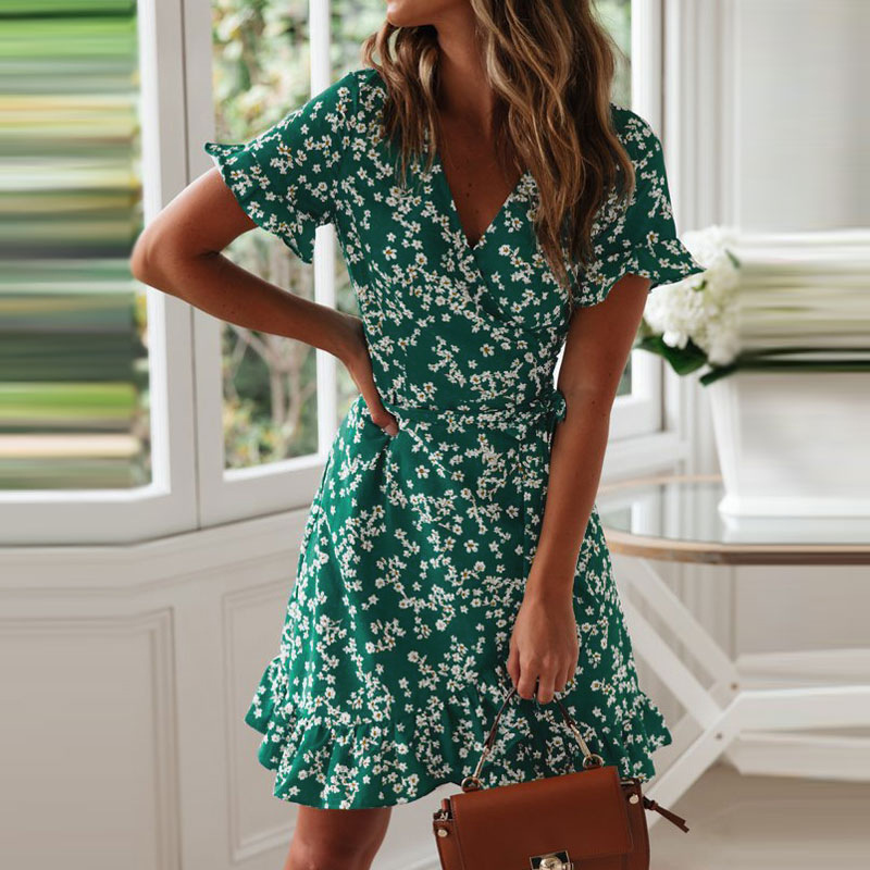 Women Dresses Summer 2020 Sexy V Neck Floral Print Boho Beach Dress Ruffle Short Sleeve A Line Mini Dress Wrap Sundress Robe