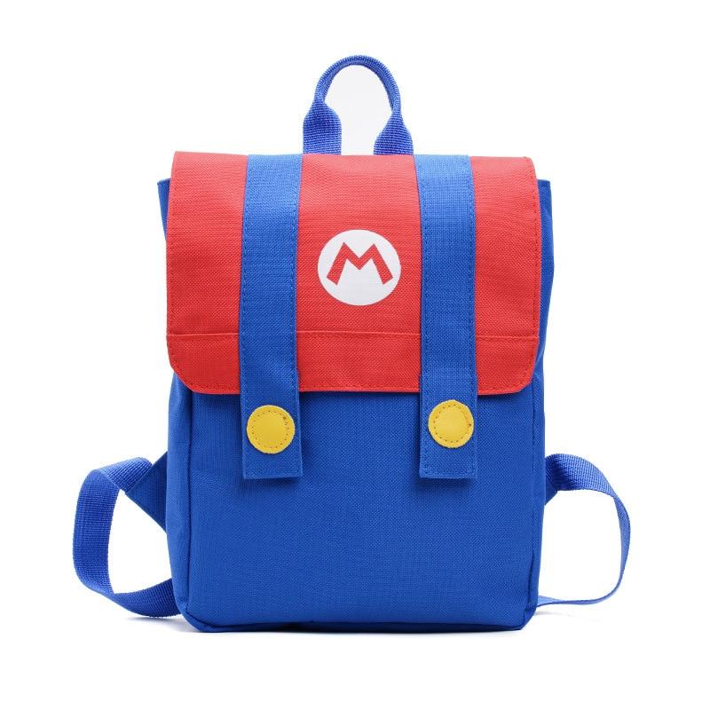 Mochila de dibujos animados Mariy para niños, franjas de diferente Color, bolso de lona, bolsa de viaje de Anime rojo y verde