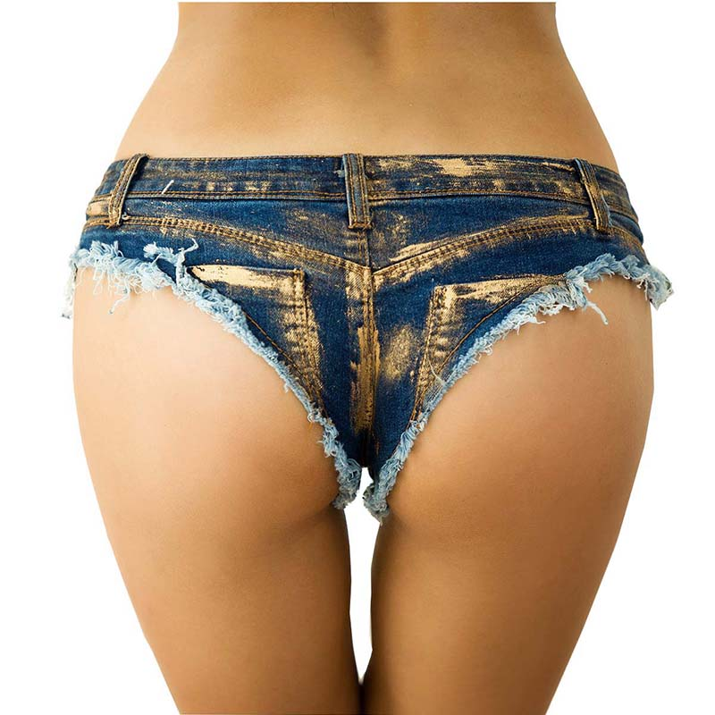 Women Sexy Shorts Jeans Super Mini Gilding Denim Shorts Vintage Casual Booty Summer Shorts Club Dance Ripped Thong Micro Shorts