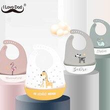 Cartoon Animal śliniaki dla dzieci wodoodporne miękkie silikonowe Baby Girl Boy karmienie rzeczy drukowane regulowane dzieci dzieci Bib fartuch