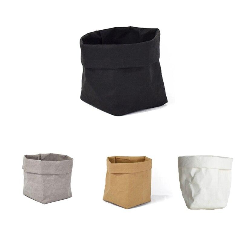 Creative Washable Storage Bags Mini Succulents Kraft Paper Flower Pot Cover Flowerpot Bag Children Room Sundries Organizer Pouch