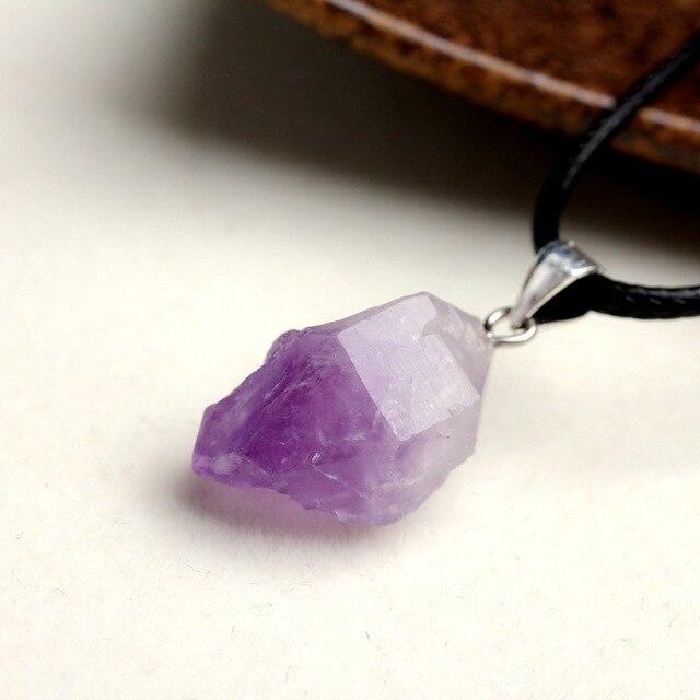 Collar con colgante de piedra Natural amatista de Brasil cristal druso forma Irregular lavanda Chakra semipreciosa