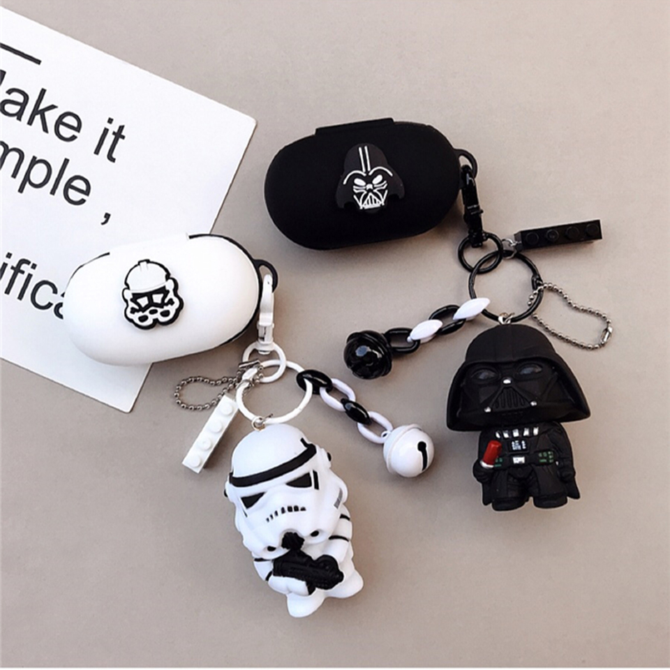 Cartoon Silicon Cover For Samsung SM-R170 Galaxy Buds 2019 Case Wireless Bluetooth Headset Charging Box Cover Earphone Keyring