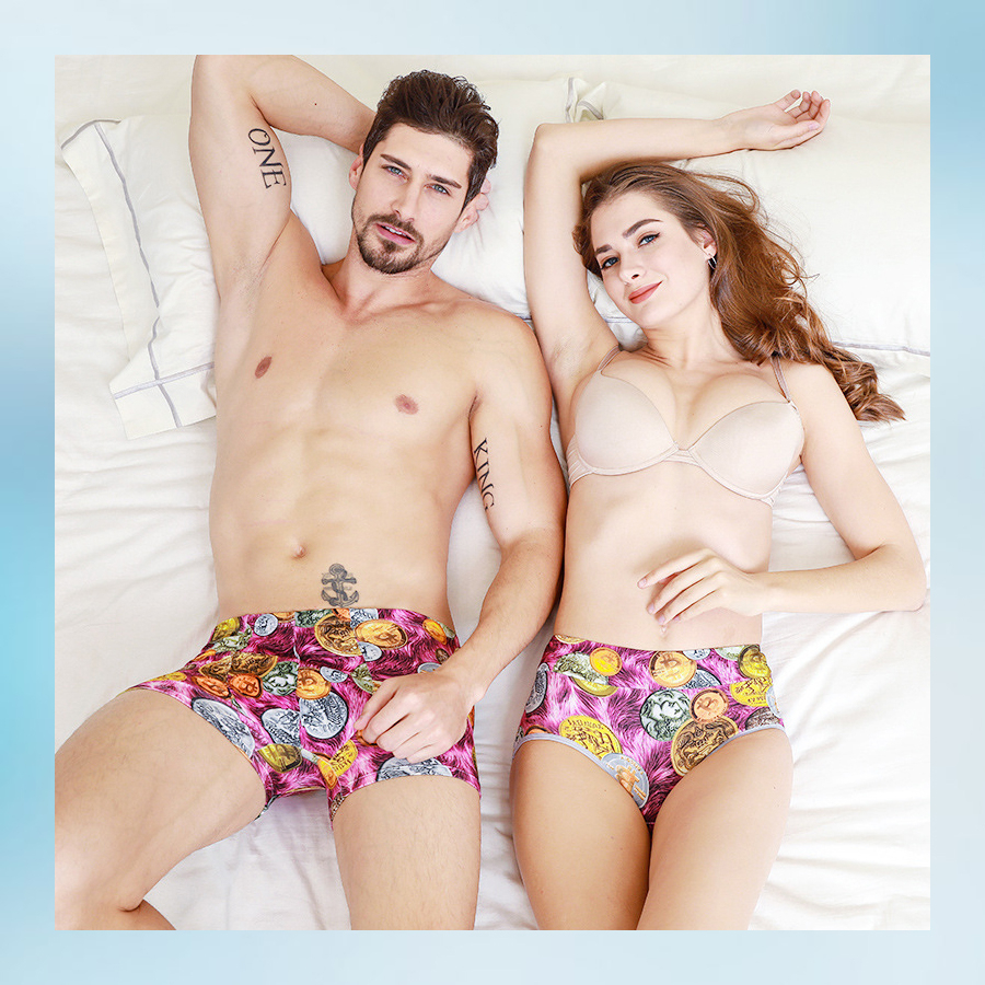 Couple's Underwears Men's Boxer Women's Panties 3D Printed Lovers' Underpants Women's Underwear Couple Printed Underwear Source