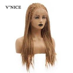 V'NICE Honig Blonde Braid Synthetische Spitze Front Perücke für Schwarze Frauen 20-26 zoll Brasilien African American Geflochtene Künstliche haar