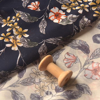 Navy blue rice white flower cluster leaves chiffon cloth summer dress skirt scarf fabric