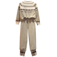 Large Plus Size sport suit Winter Women Knitted 2 Piece Set Sportwear Pullover Sweater And Pocket Pant Suit Outfits Warm tracksuit