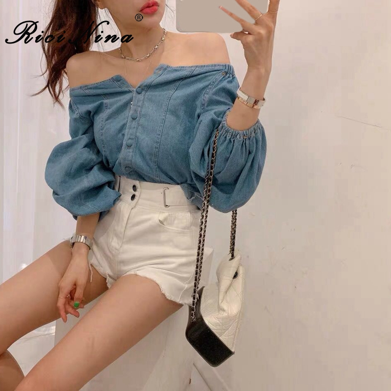 RICININA Womens Denim Shirt Women Long Sleeve Buttons Off Shoulder Shirts Female Autumn Casual Tops And Blouses 2019