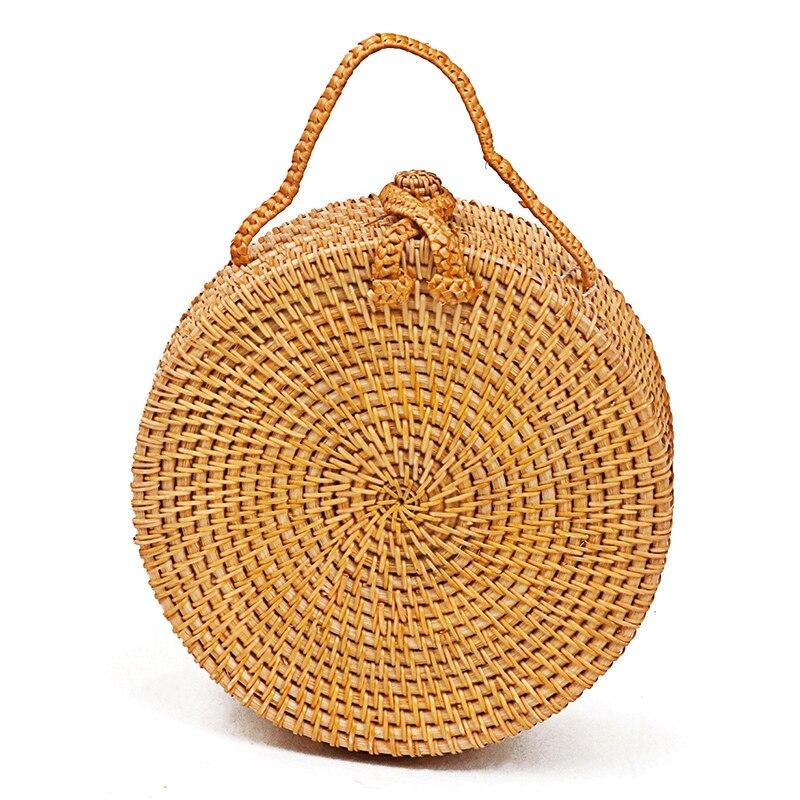 ABZC женские сумки, круглые пляжные ручные, Круглый, Ретро стиль, ротанг, солома