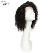 Remy Forte Lace Front Human Hair Wigs Curly Short Wig 100% Indian For Women Jerry Curl  U Part