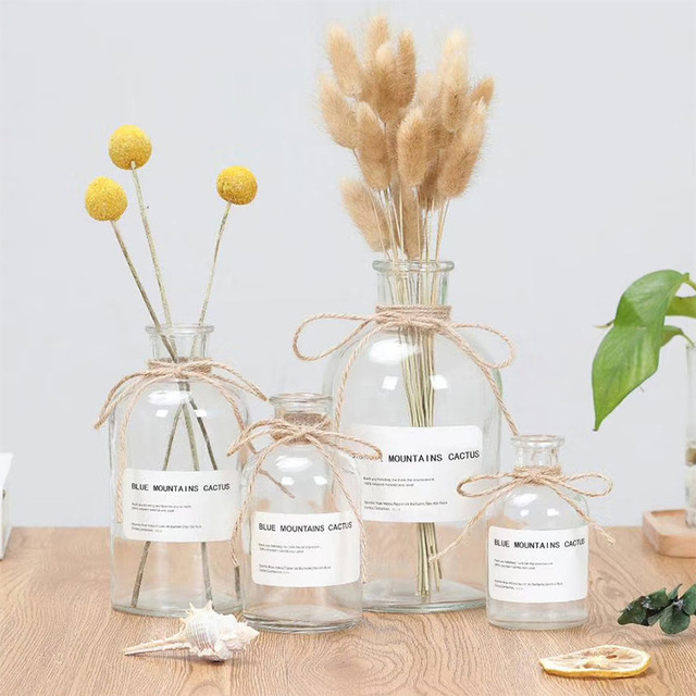 Modern Creative Glass Vase Ornaments Home Furnishing Crafts Office Table Bouquets Flower Pot Wedding Decoration 2