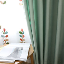Simple Modern Plain Engineering Curtains for Living Room Bedroom Curtain Fabric Thick Cotton Linen Shade Velvet Linen Curtain