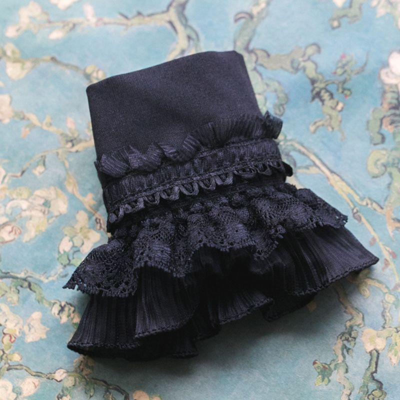 Gothic Retro Black Detachable Sleeve Fake Cuffs Multi Layer Ruffles Lace Patchwork Lolita Princess Sweater Decorative