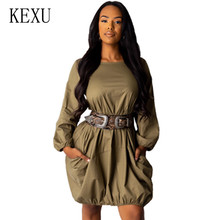 KEXU Fashion Casual Solid Color Pullover Dress Elegant Long Sleeve O-neck Loose Short Female Hollow Out Party Vestidos