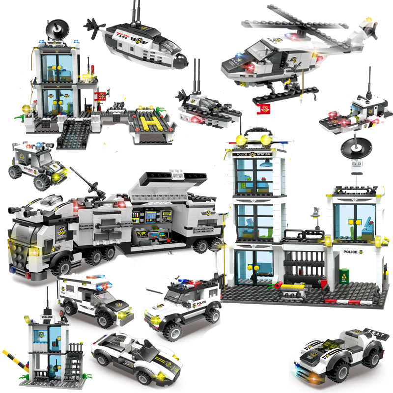 GOLPE da Polícia da cidade de Juguetes Brinquedos Conjuntos de Blocos de Construção Helicóptero Carro LegoINGs Técnica Playmobil Tijolos Brinquedos Presentes de Natal