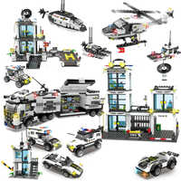 City Police SWAT Juguetes Brinquedos Building Blocks Sets Helicopter Car LegoINGs Technic Playmobil Bricks Toys Christmas Gifts
