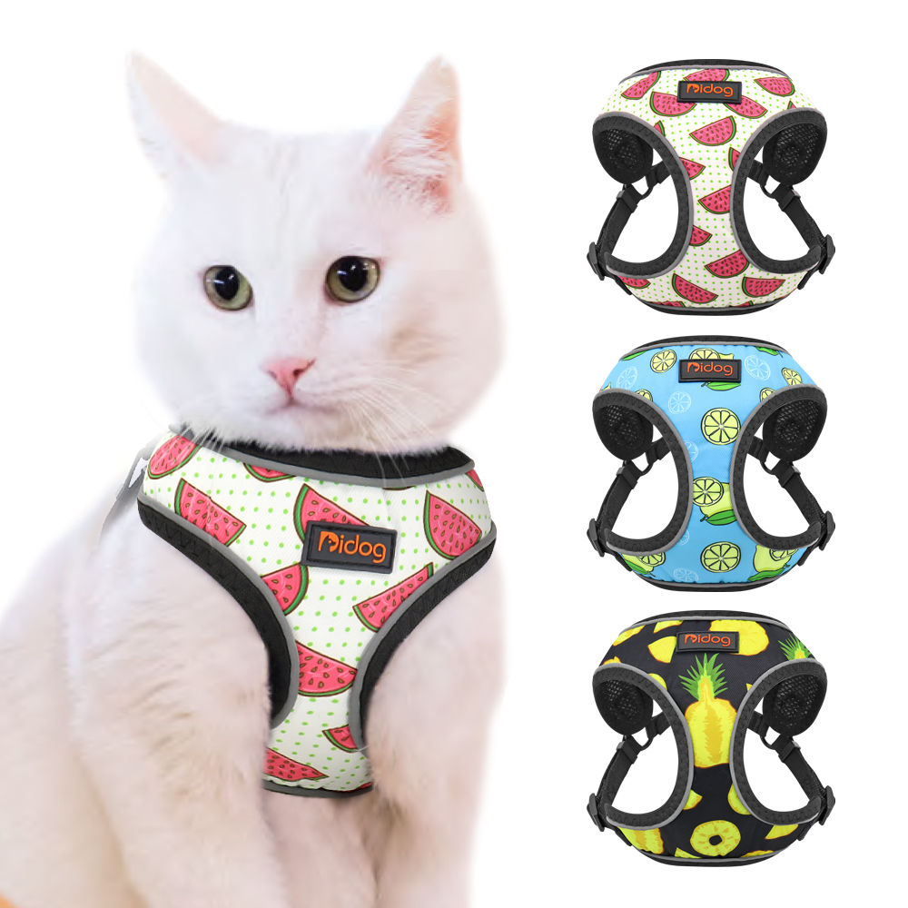 Mesh Nylon Cat Harness Reflective Kitten Dog Vest Harnesses Small Dogs Cats Printed Harness Vests Chihuahua Yorkshire