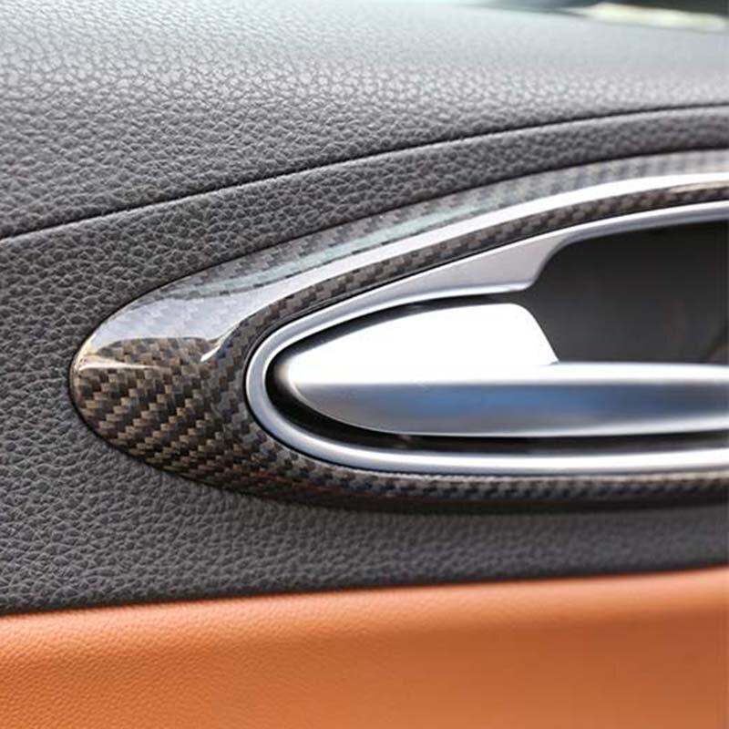 Maçaneta da porta do carro tigela cobre decoração interior guarnição para alfa romeo giulia 2017 acessórios de fibra carbono estilo - 4