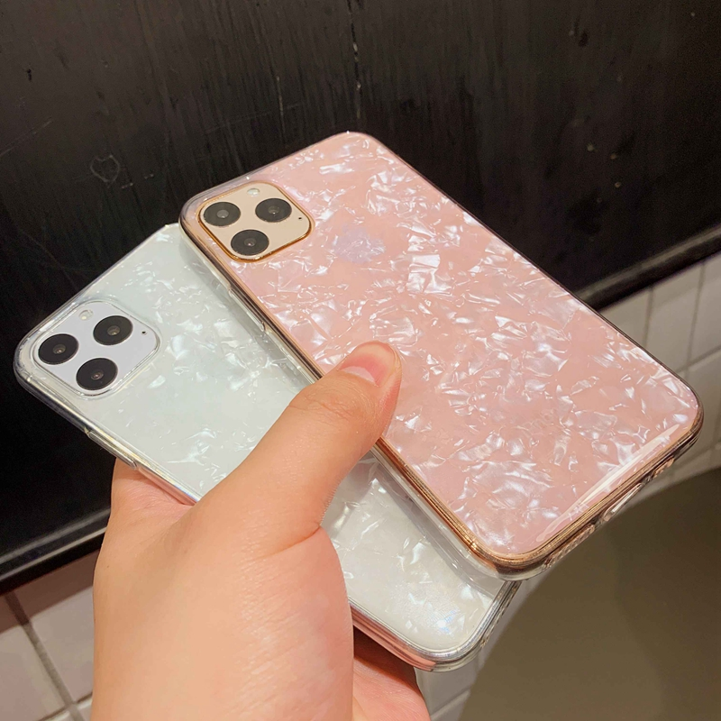 Sparkle and Crystal Clear Phone Case For iPhone X XR XS 11 Pro Max 8 7 6 6s Plus with Glitter Shell Pattern 10