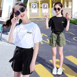 Комплекты летней одежды для девочек, Детская футболка с короткими рукавами и короткие штаны, повседневная одежда для детей 6, 7, 8, 10, 12 лет, спо...