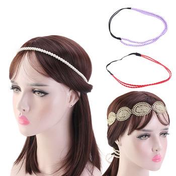 Women's Wedding Bridal White Purple Pearl Beads Leather Lace Headbands Flower Hairband For Women Girls Party Hair Accessories stylish faux pearl flower lace necklace for women