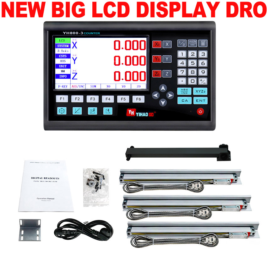 3 Axis Dro Set Digital Readout System Display VM600 3 and 3 PCS 5U Linear Optical Ruler Dimension 50 1000 for Lathe Mill Machine-in Level Measuring Instruments from Tools