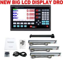 Nieuwe 3 Axis Lcd Dro Set Digitale Uitlezing Systeem Display En 3 Pcs 5U Lineaire Optische Heerser Dimensie 50 1000 Voor Draaibank Molen Machine