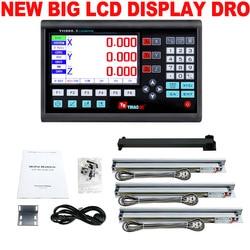 Novedad, conjunto de 3 ejes LCD Dro, pantalla de sistema de lectura Digital y 3 uds 5U regla óptica lineal, dimensiones 50-1000 para molinillo de torno