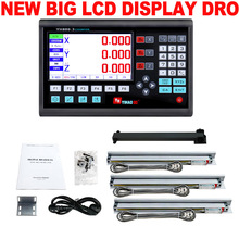 Yeni 3 eksenli LCD Dro seti dijital okuma sistemi ekran ve 3 adet 5U lineer optik cetvel boyut 50 1000 torna değirmen makinesi