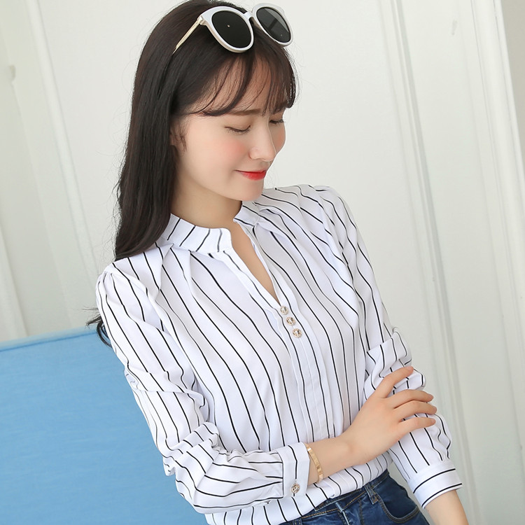 H6ec94305c486418b935a975f43a3df47f - Women Fashion White Tops and Blouses Stripe Print Design Casual Long Sleeve Office Lady Work Formal Shirts Female Plus Size