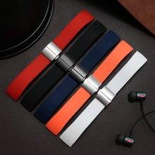 Ремешок силиконовый для часов, водонепроницаемый сменный браслет для мужчин и женщин, черный белый красный оранжевый синий