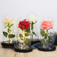 2020 New Present Beauty And The Beast Rose In Glass Dome Forever Rose Preserved Rose Belle Rose Romantic Christmas Gift