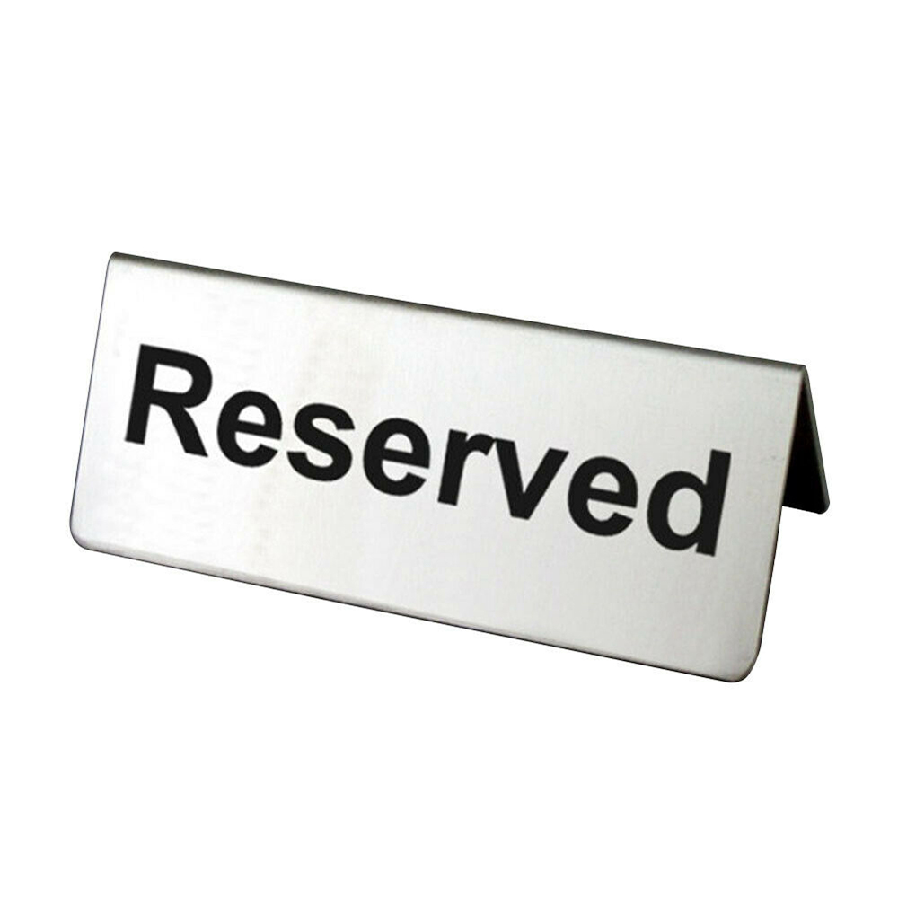 For Cafes Hotels Restaurants Bar Reusable Double Sided Stainless Steel Table Sign Card Holder Tabletop Reserved Signs
