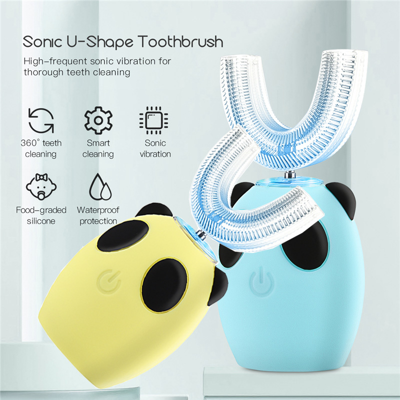 3-15 Years Old Child Electric Toothbrush Automatic U-shaped Silicone Toothbrush Kids Teeth Whitening Gum Massage 3 Cleaning Mode image