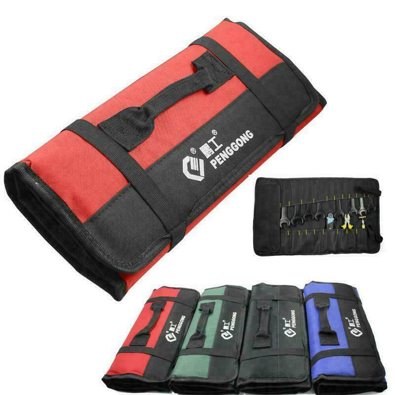 1x Red Oxford Canvas Reel Roll Type Storage Bag Tool Pocket Pouch Car Tool Reels
