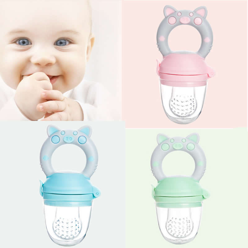 1PC Baby Silicone Fruit Vegetable Nippler Cartoon Pig Feeding Pacifier Trainning Pacifier Bit Feeder Teether Chew Toys 3 Size