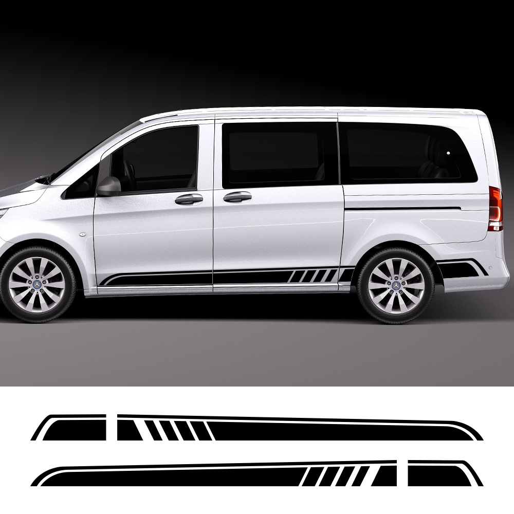2PCS Lot Car Door Side Skirt Stripe Stickers For Mercedes Benz Vito Viano Valente Metris V Class W447 W639 V260 Auto Accessories