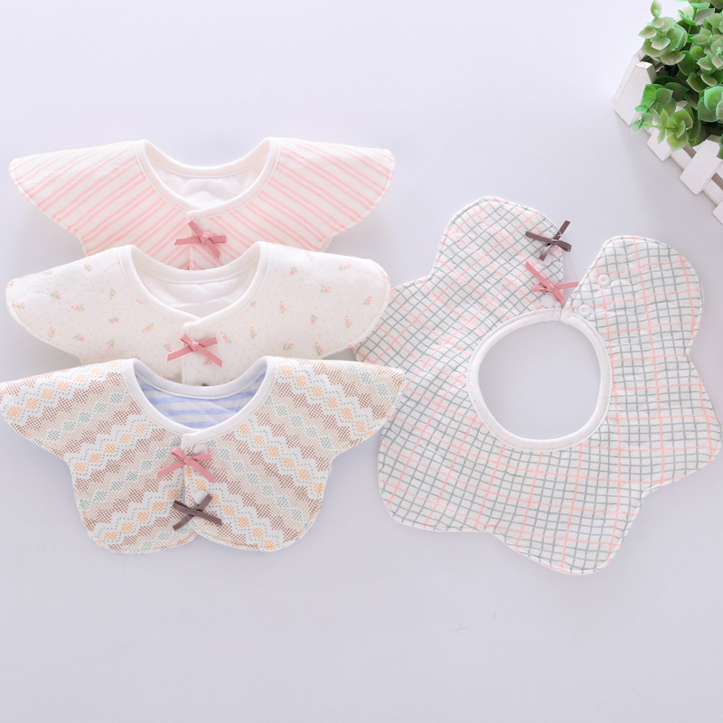 Baby Bibs Cotton Flower Waterproof Cloth Bibs Saliva Towel Rotating Baby Babador Feeding Smock Infant Burp Cloths Bandana Bibs