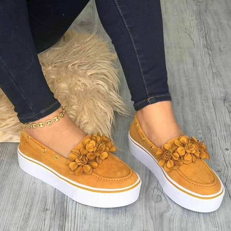 WENYUJH 2020 Women Flats Shoes Platform Sneakers Slip On Suede Ladies Loafers Casual Floral Shoes Women Shoes Zapatos De Mujer