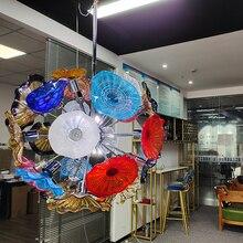 GIRBAN муранское стекло стекло тарелки интерьер освещение цепь люстра подвесной светильник дом докор чердак свет современный люстра для гостиной комнаты