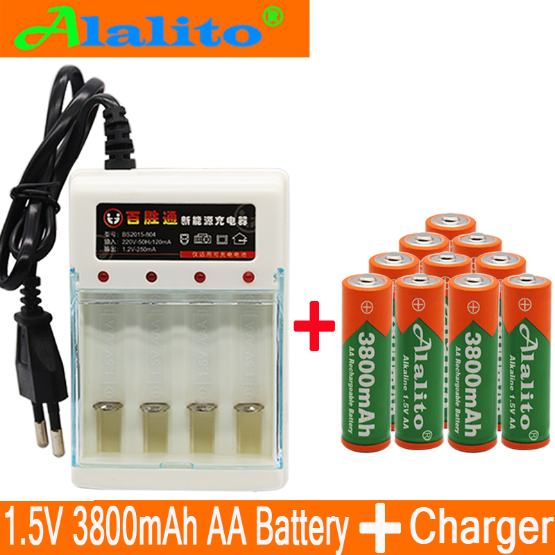New Brand AA rechargeable battery 3800mah 1.5V New Alkaline Rechargeable batery for led light toy mp3 Free shipping with charger(China)